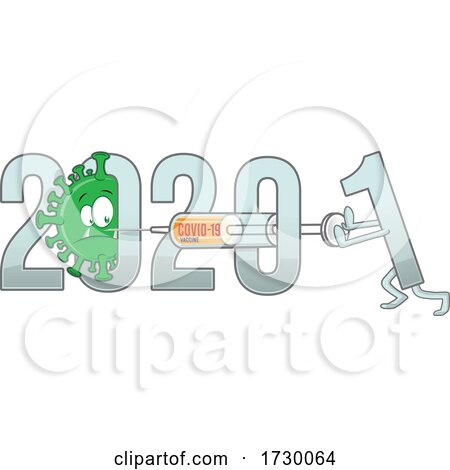 New Year from 2020 to 2021 Text with Covid 19 Cartoon and Vaccine by Domenico Condello
