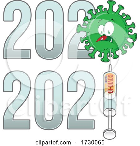 From 2020 to 2021 Year Text with Covid Cartoon and Vaccine by Domenico Condello