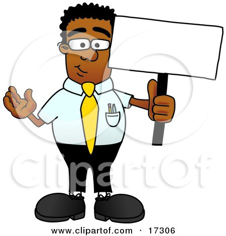 Clipart Picture of a Black Businessman Mascot Cartoon Character Holding a Blank Sign by Toons4Biz