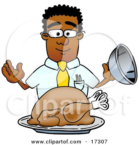 Clipart Picture of a Black Businessman Mascot Cartoon Character Serving a Thanksgiving Turkey on a Platter by Toons4Biz
