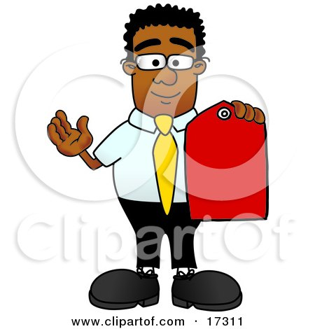 Clipart Picture of a Black Businessman Mascot Cartoon Character Holding a Red Sales Price Tag  by Toons4Biz