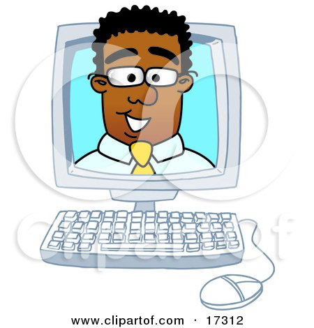 Clipart Picture Of A Black Businessman Mascot Cartoon Character Looking Out From Inside A Computer Screen
