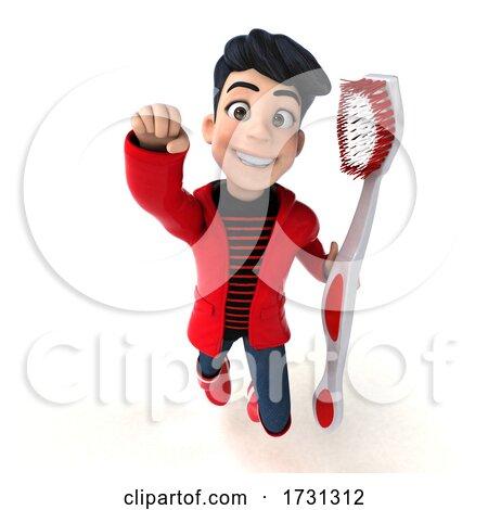 3d Asian Boy in Rain Gear, on a White Background by Julos