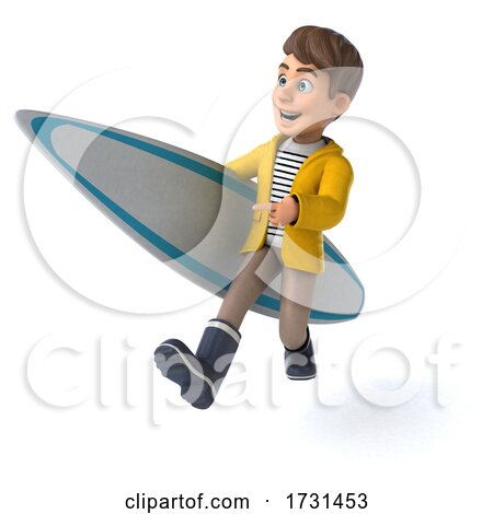 3d White Boy in Rain Gear, on a White Background by Julos