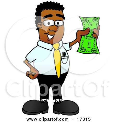 Clipart Picture of a Black Businessman Mascot Cartoon Character Holding a Dollar Bill  by Toons4Biz