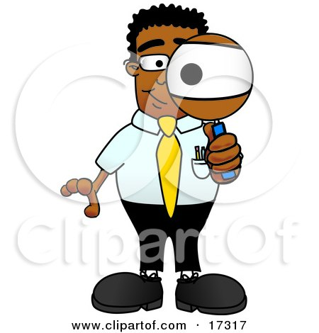 Clipart Picture Of A Black Businessman Mascot Cartoon Character Looking Through A Magnifying Glass