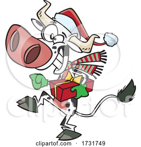 Cartoon Christmas Cow Holding a Present by toonaday