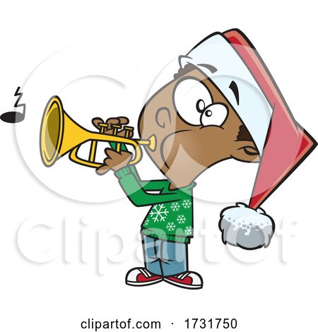 Cartoon Boy Playing Christmas Music with a Trumpet by toonaday