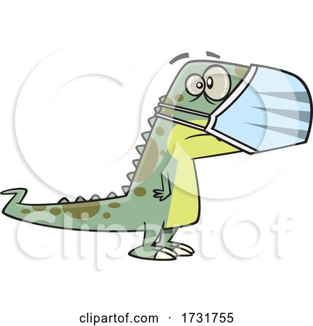 Cartoon Dinosaur Waring a Face Mask by toonaday