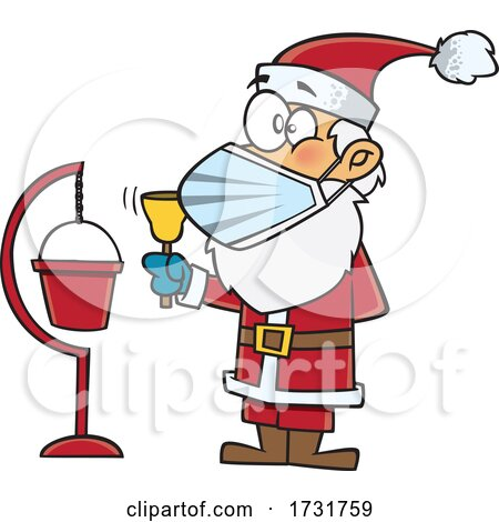 Cartoon Christmas Santa Claus Wearing a Mask and Ringing a Bell by toonaday