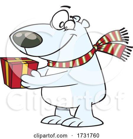 Cartoon Polar Bear Giving a Gift by toonaday