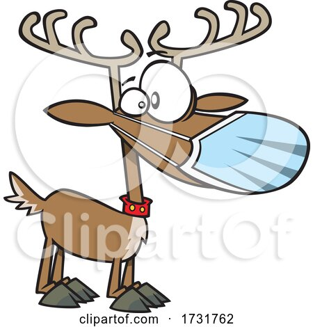 Cartoon Christmas Reindeer Waring a Face Mask by toonaday