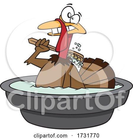 Cartoon Happy Turkey Bird Taking a Bath Posters, Art Prints