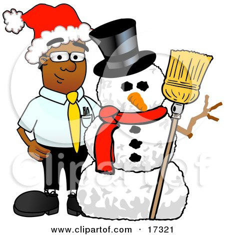 Clipart Picture Of A Black Businessman Mascot Cartoon Character With A Snowman On Christmas