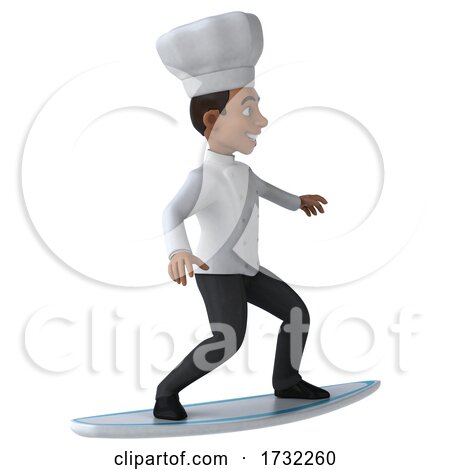 3d Young Black Male Chef, on a White Background by Julos