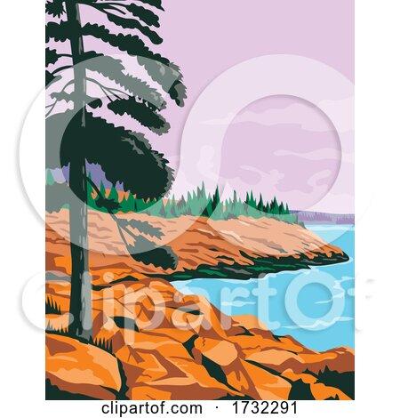 Acadia National Park in Southwest of Bar Harbor Maine United States WPA by patrimonio