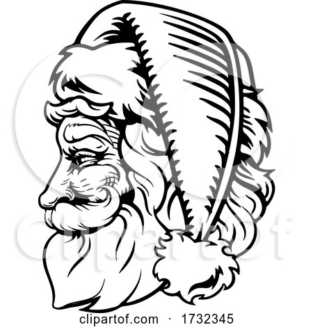 Christmas Santa Claus Retro Engrave Woodcut Style by AtStockIllustration