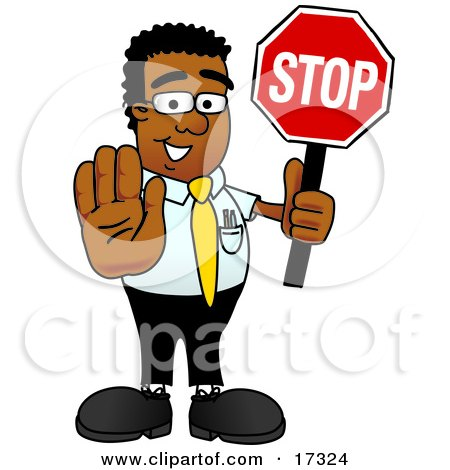 Clipart Picture of a Black Businessman Mascot Cartoon Character Holding a Stop Sign by Toons4Biz