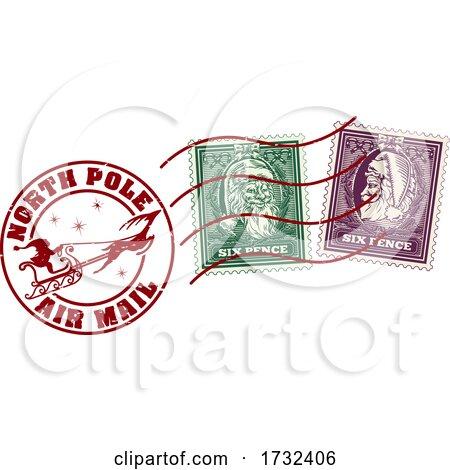 Santa Claus Christmas Postage Letter Post Stamp by AtStockIllustration