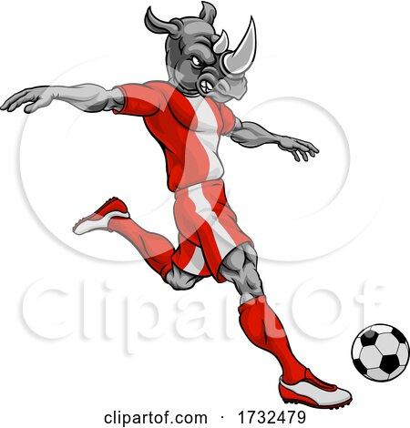Rhino Soccer Football Player Animal Sports Mascot Posters, Art Prints