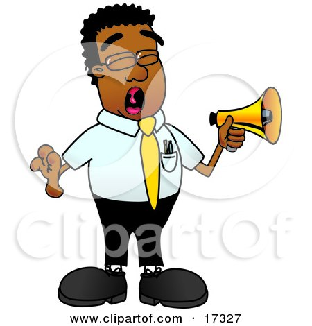 Clipart Picture of a Black Businessman Mascot Cartoon Character Screaming Into a Megaphone by Toons4Biz