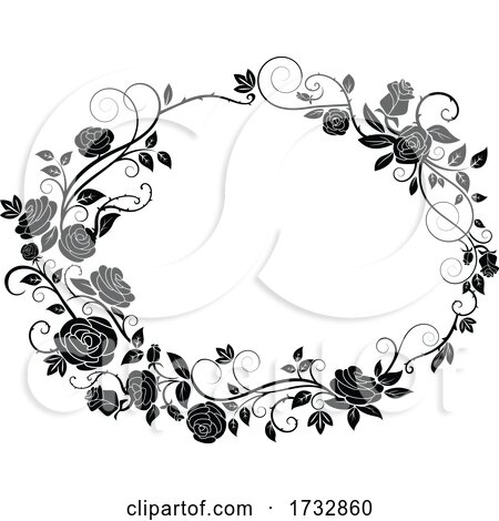 Black and White Rose Frame by Vector Tradition SM