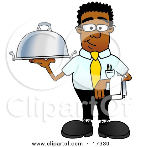 Clipart Picture of a Black Businessman Mascot Cartoon Character Holding a Serving Platter by Toons4Biz