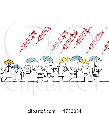 Stick People Using Umbrellas to Protect Themselves from Raining Vaccines by NL shop