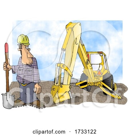 Construction Worker and Backhoe on a White Background by djart