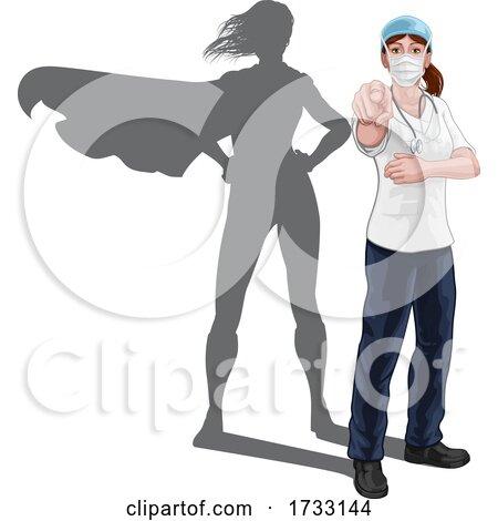 Nurse Doctor Woman Super Hero Shadow Pointing by AtStockIllustration