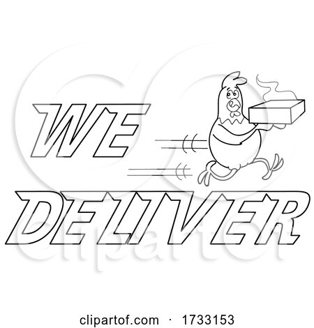 Outline Fast Running Chicken with We Deliver Text by LaffToon