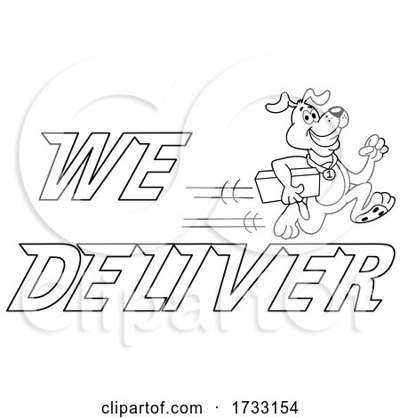 Outline Fast Running Dog with We Deliver Text by LaffToon