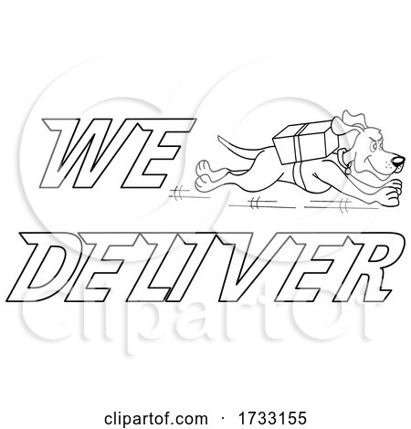 Outline Running Dog with We Deliver Text by LaffToon
