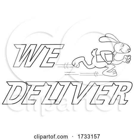 Outline Fast Running Rabbit with We Deliver Text by LaffToon