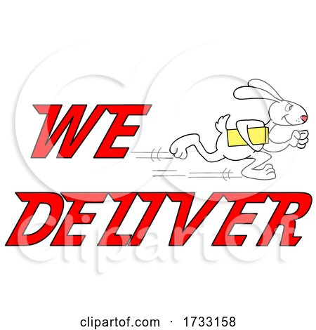 Fast Running Rabbit with We Deliver Text by LaffToon