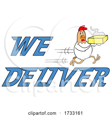 Fast Running Chicken with We Deliver Text by LaffToon