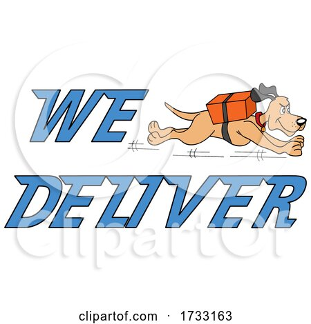 Running Dog with We Deliver Text by LaffToon