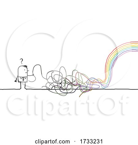 Stick Man with Scribbles and a Rainbow by NL shop