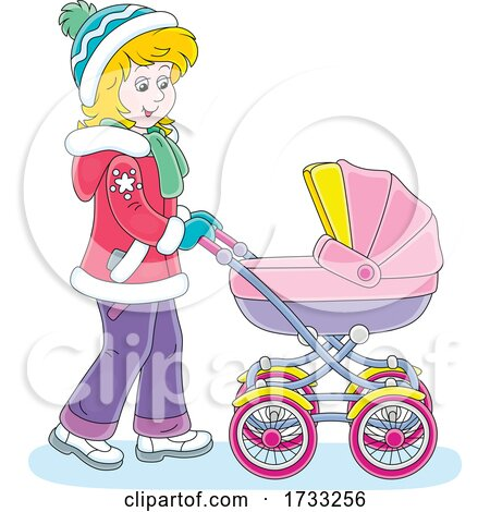 Happy Mother Pushing a Baby Stroller by Alex Bannykh