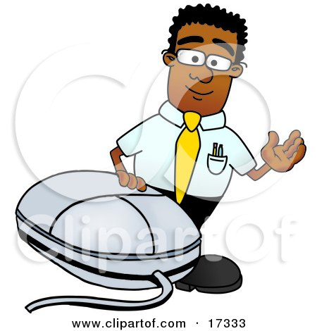 Black Businessman Mascot Cartoon Character With a Computer Mouse Posters, Art Prints