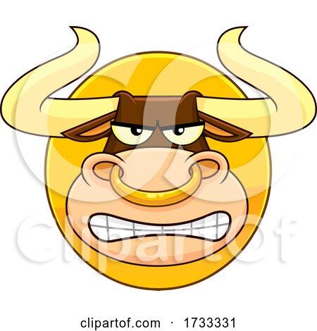 Cartoon Tough Bull Mascot Face Logo by Hit Toon