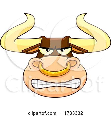 Cartoon Bull Mascot Face by Hit Toon