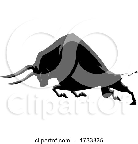 Charging Black Ox or Bull by Hit Toon