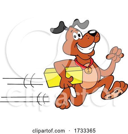 Running Delivery Dog with a Package by LaffToon