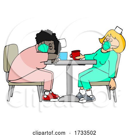 Cartoon Exhausted Covid Nurses Napping on a Break at the Hospital by djart