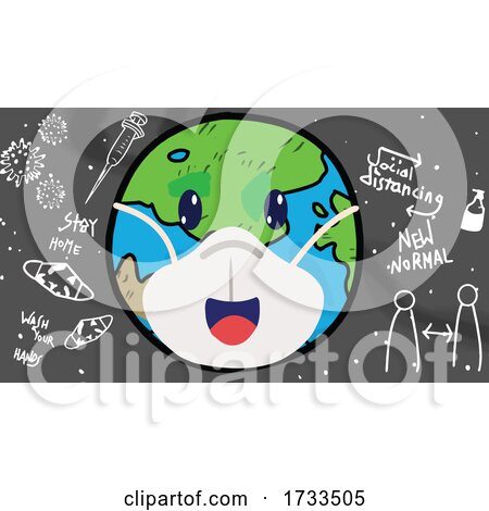 Cartoon Covid Earth Wearing a Mask over Coronavirus Icons by mayawizard101