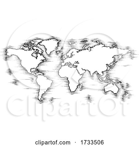 World Map Drawing Old Woodcut Engraved Style by AtStockIllustration