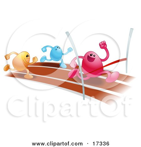 Pink Bean Character Racing On A Track And Crossing The Finish Line Before Orange And Blue Runners, Symbolizing Achievement Posters, Art Prints