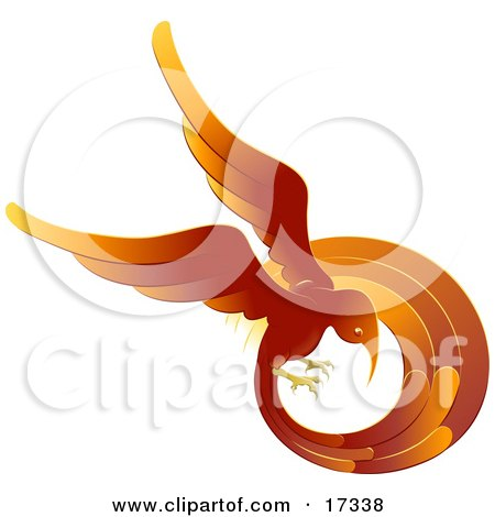 Flaming Red And Orange Phoenix Fire Bird Flying In A Circle, Symbolizing Rebirth  Posters, Art Prints