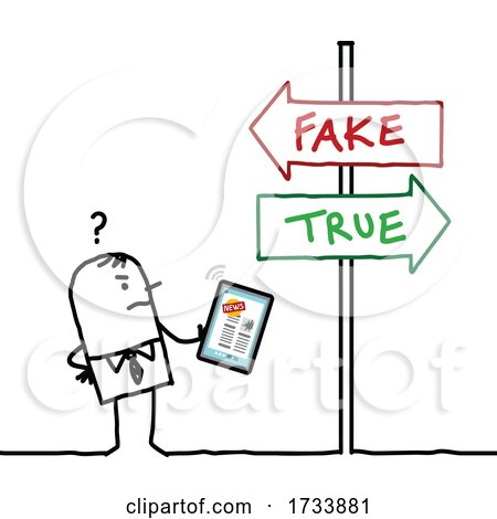 Stick Business Man Trying to Find out What Is Real or Fake News by NL shop